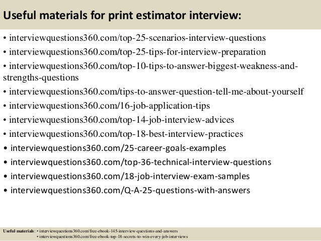 Top 10 print estimator interview questions and answers