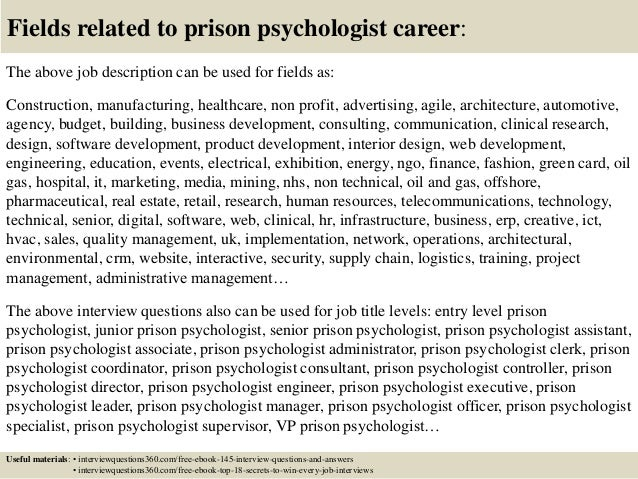 Charming ... 18. Fields Related To Prison Psychologist Career: The Above Job  Description ...