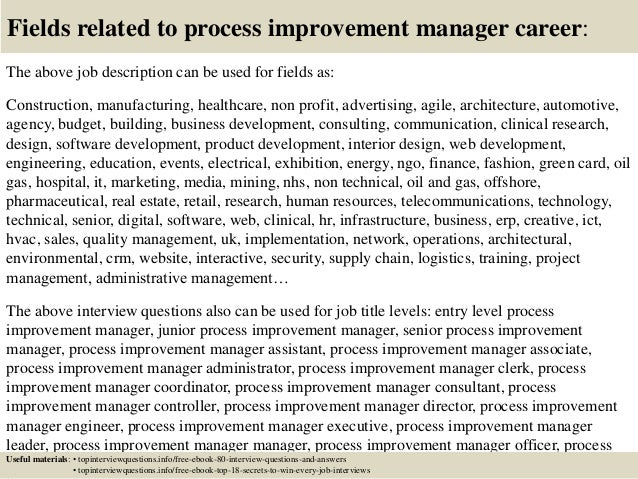 top 10 process improvement manager interview questions and