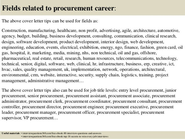 16 fields related to procurement career the above cover letter - Procurement Specialist Cover Letter