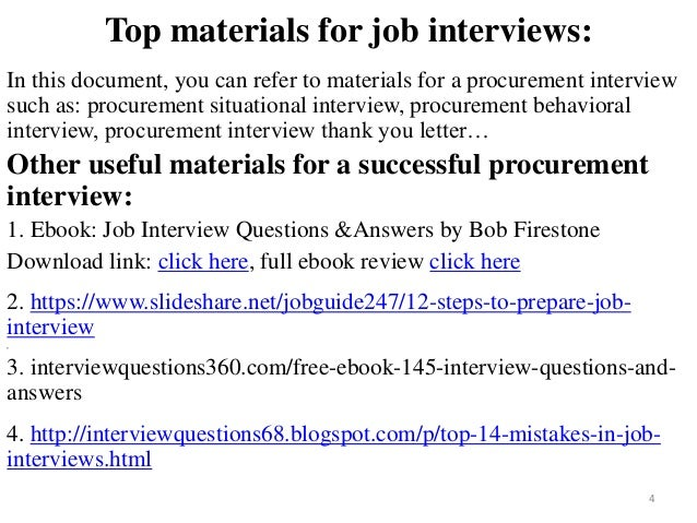procurement interview 4 top materials for job