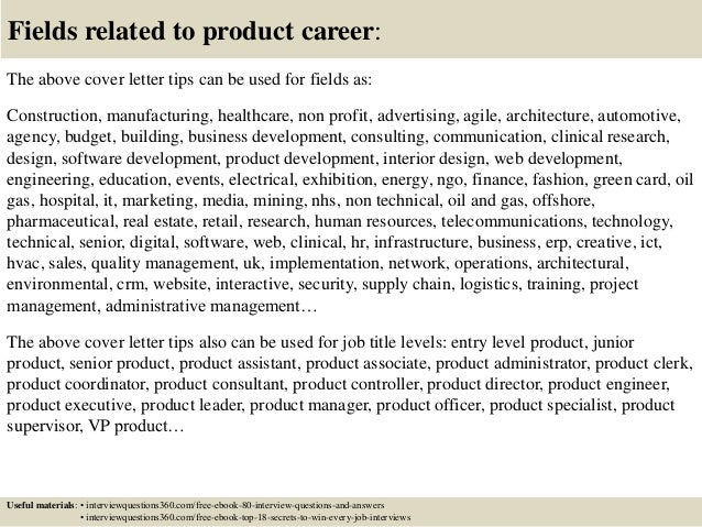 ... 16. Fields Related To Product Career: The Above Cover Letter ...
