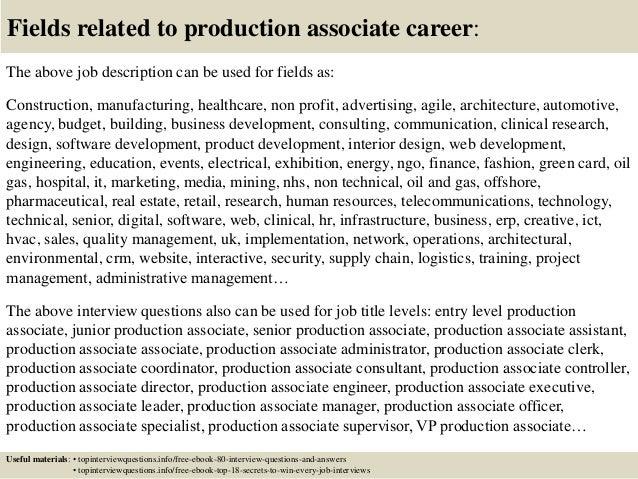 production associate job description