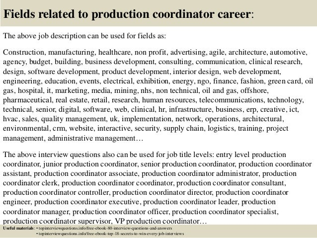 top 10 production coordinator interview questions and answers
