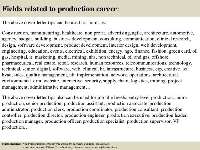 ... 16. Fields Related To Production Career: The Above Cover Letter ...