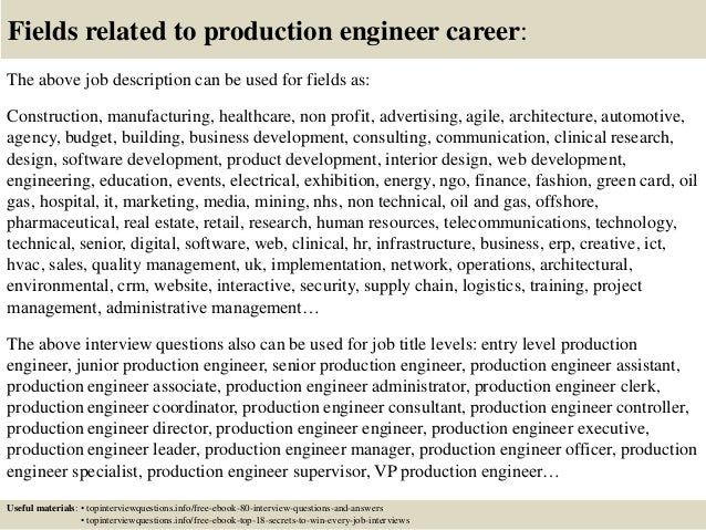 17 fields related to production engineer - Production Engineering Job