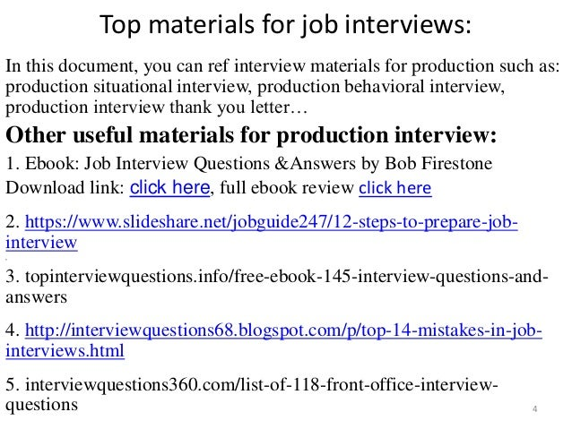 ... Tips To Prepare For Production Interview; 4.