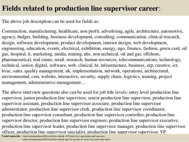18 fields related to production line supervisor career the above job description - Assembly Line Job Description