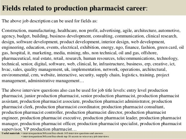 Top 10 production pharmacist interview questions and answers – Pharmacist Job Description