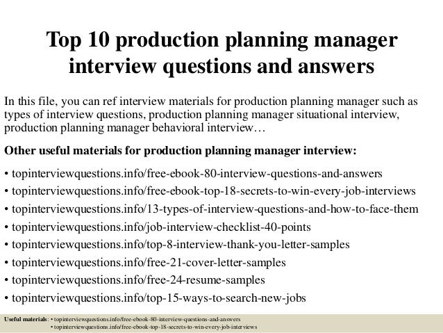 top 10 production planning manager interview questions and answers
