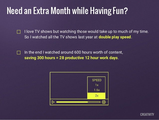 I love TV shows but watching those would take up to much of my time. So I watched all the TV shows last year at double pla...
