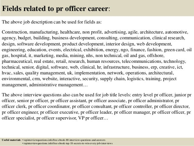 Top 10 pr officer interview questions and answers