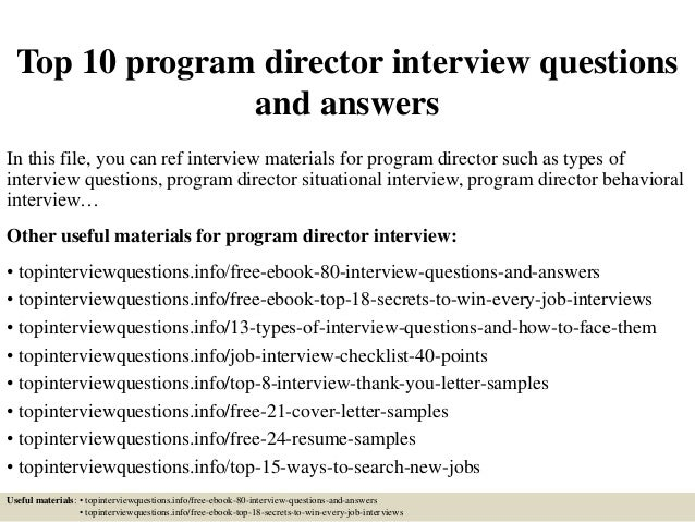Top 10 Program Director Interview Questions And Answers