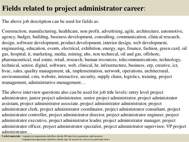 Top 10 project administrator interview questions and answers