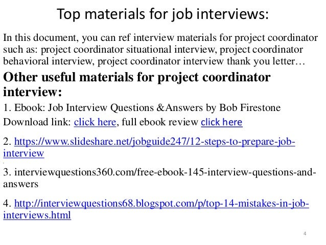 project coordinator interview 4 - Executive Coordinator Interview Questions And Answers
