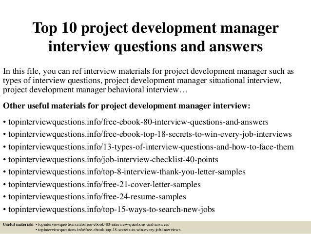 Top 10 Project Development Manager Interview Questions And Answers