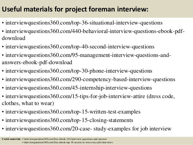 Top 10 project foreman interview questions and answers