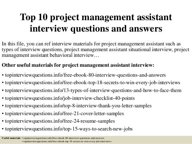 Top 10 Project Management Assistant Interview Questions
