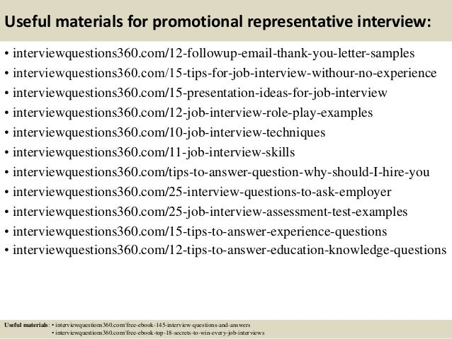 Top 10 promotional representative interview questions and answers 15 useful materials for promotional fandeluxe Gallery