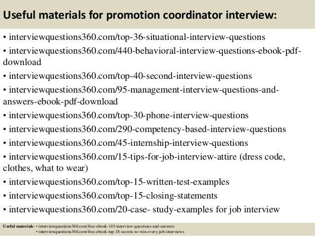 13 useful materials for promotion coordinator interview