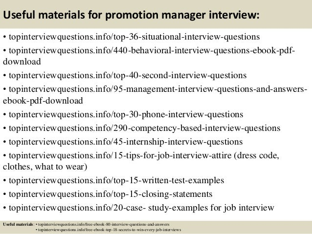 12 useful materials for promotion manager interview