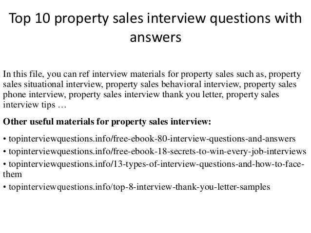 top 10 property sales interview questions with answers in this file you can ref interview