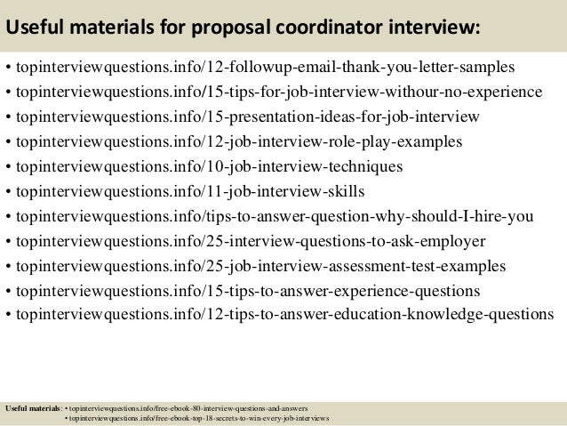 Top 10 proposal coordinator interview questions and answers