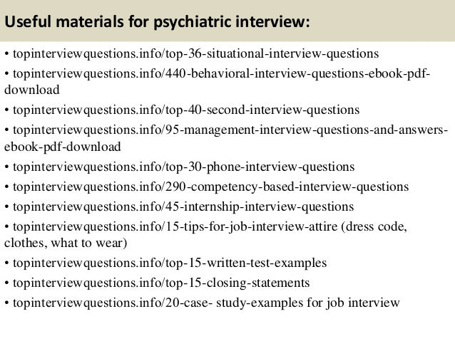 11. Useful Materials For Psychiatric Interview: ...
