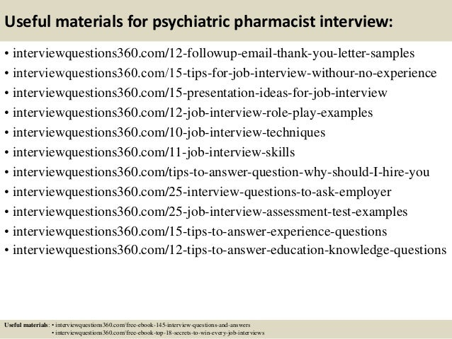 ... 15. Useful Materials For Psychiatric Pharmacist Interview: ...