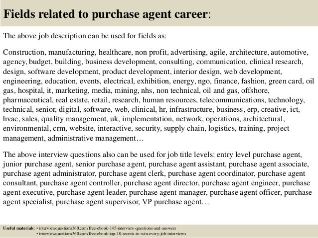 ... 18. Fields Related To Purchase Agent Career: The Above Job Description  ...