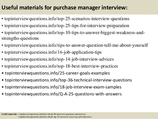 13 Useful Materials For Purchase Manager Interview