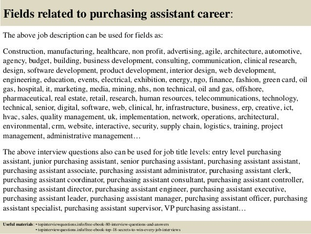 ... 17. Fields Related To Purchasing Assistant Career: The Above Job  Description ...