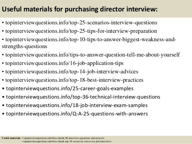 13 Useful Materials For Purchasing Director Interview