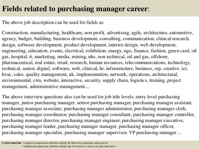 Top 10 purchasing manager interview questions and answers – Purchasing Manager Job Description