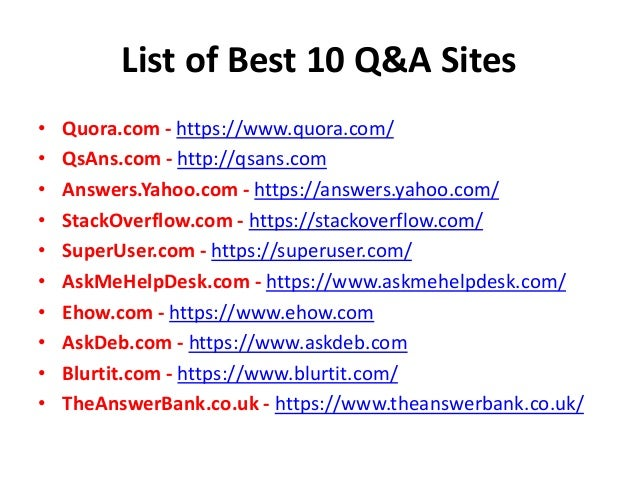 Top 10 Question Answers Websites