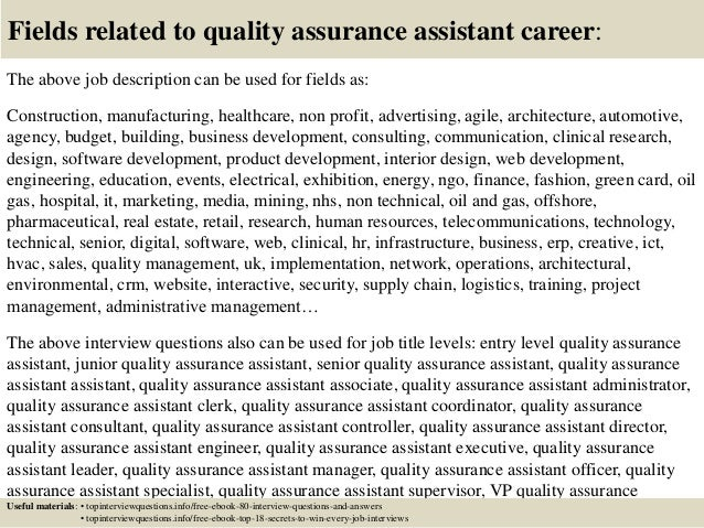 top 10 quality assurance assistant interview questions and
