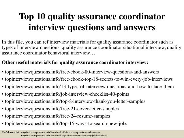 top 10 quality assurance coordinator interview questions