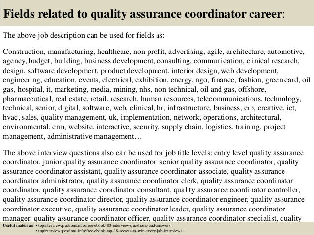 ... 17. Fields Related To Quality Assurance Coordinator Career: The Above Job  Description ...