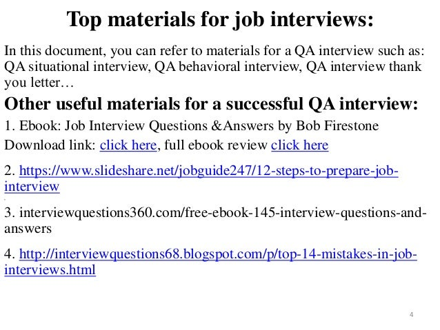 interview questions for qa position