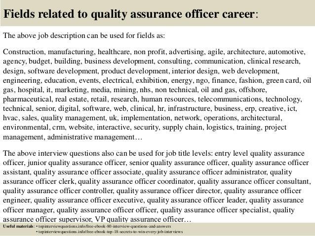 quality assurance jobs description