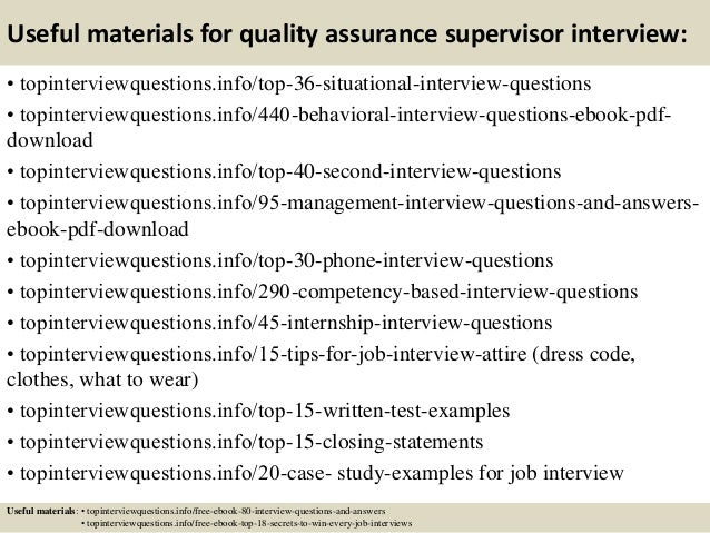 12 useful materials for quality assurance supervisor interview - Qa Interview Questions And Answers Quality Assurance Interview