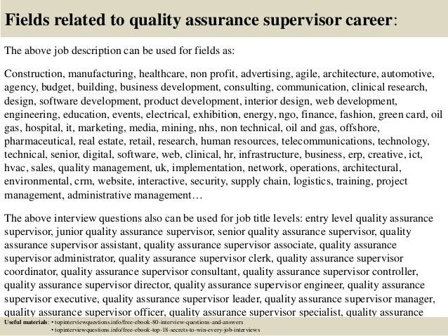 17 fields related to quality assurance - Qa Interview Questions And Answers Quality Assurance Interview