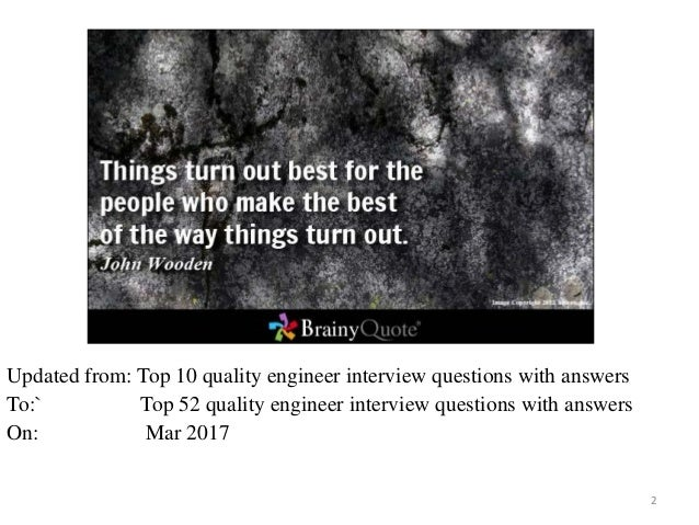 Top 52 quality engineer interview questions and answers pdf
