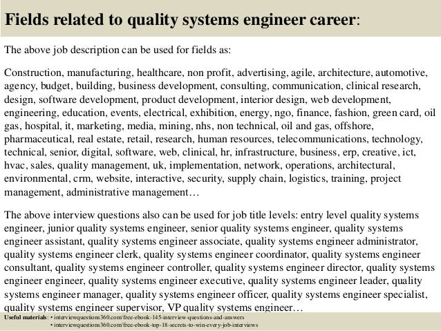 Top  Quality Systems Engineer Interview Questions And Answers