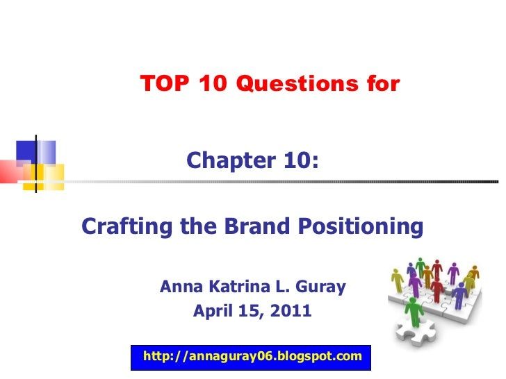 TOP 10 Questions for Chapter 10: Crafting the Brand Positioning Anna Katrina L. Guray April 15, 2011 http://annaguray06.bl...