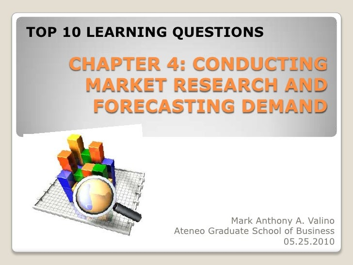 TOP 10 LEARNING QUESTIONS<br />CHAPTER 4: CONDUCTING MARKET RESEARCH AND FORECASTING DEMAND<br />Mark Anthony A. Valino<br...