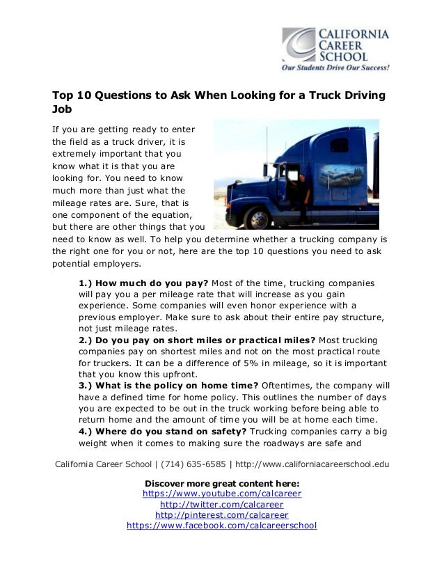 Top 10 Questions To Ask When Looking For A Truck Driving Job