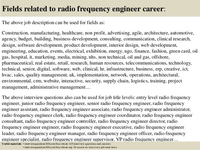 18 fields related to radio frequency engineer career the above job description - Rf Engineer Job Description