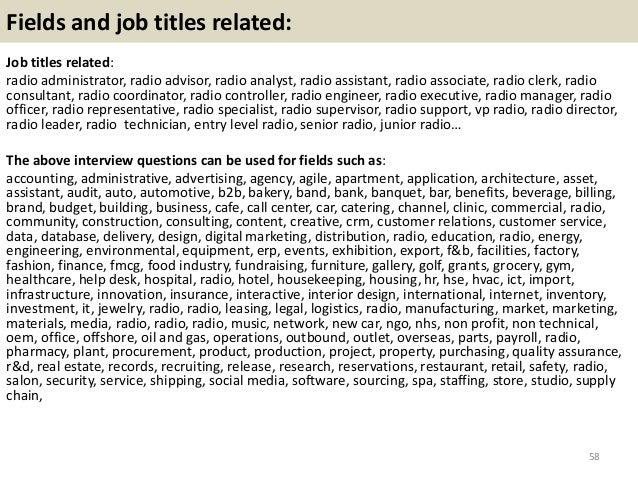 Fields and job titles related: Job titles related: radio administrator, radio advisor, radio analyst, radio assistant, rad...