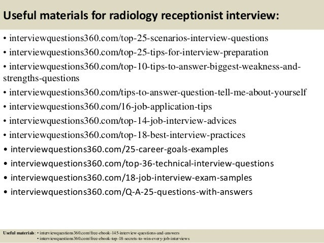 Top 10 radiology receptionist interview questions and answers – Radiologist Job Description